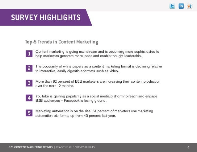 B2B Content Marketing Trends 2013 Slide 4