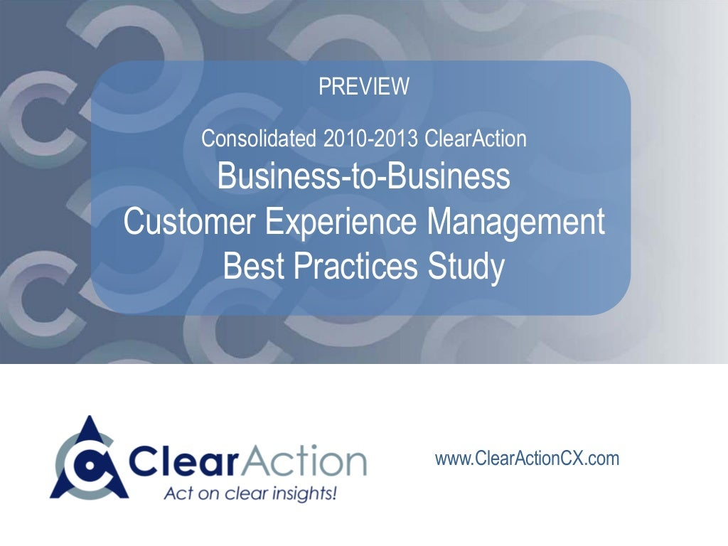 B2B Customer Experience Management Best Practice Study PREVIEW SAMPLE