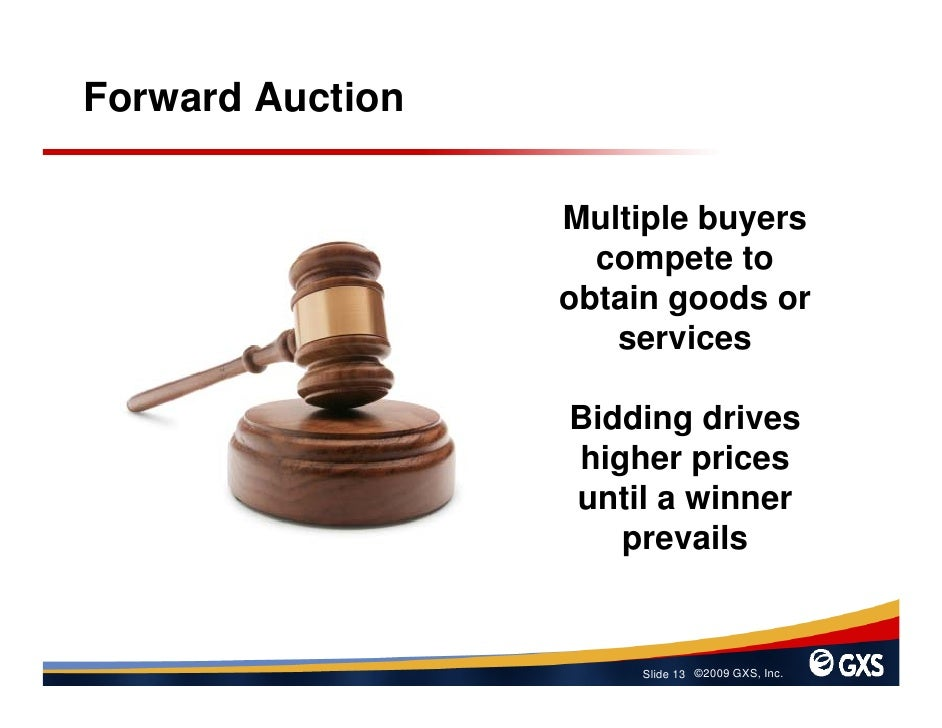 Forward Auction                    Multiple buyers                     compete to                   obtain goods or       ...