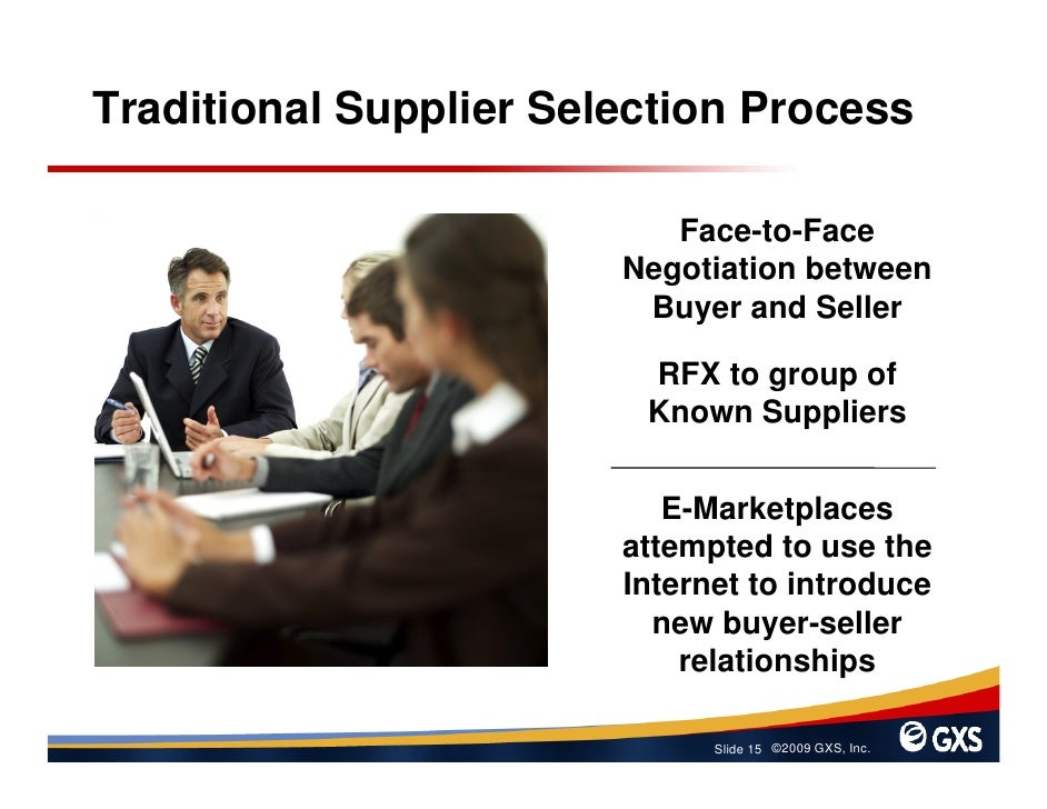 Traditional Supplier Selection Process                             Face-to-Face                         Negotiation betwee...