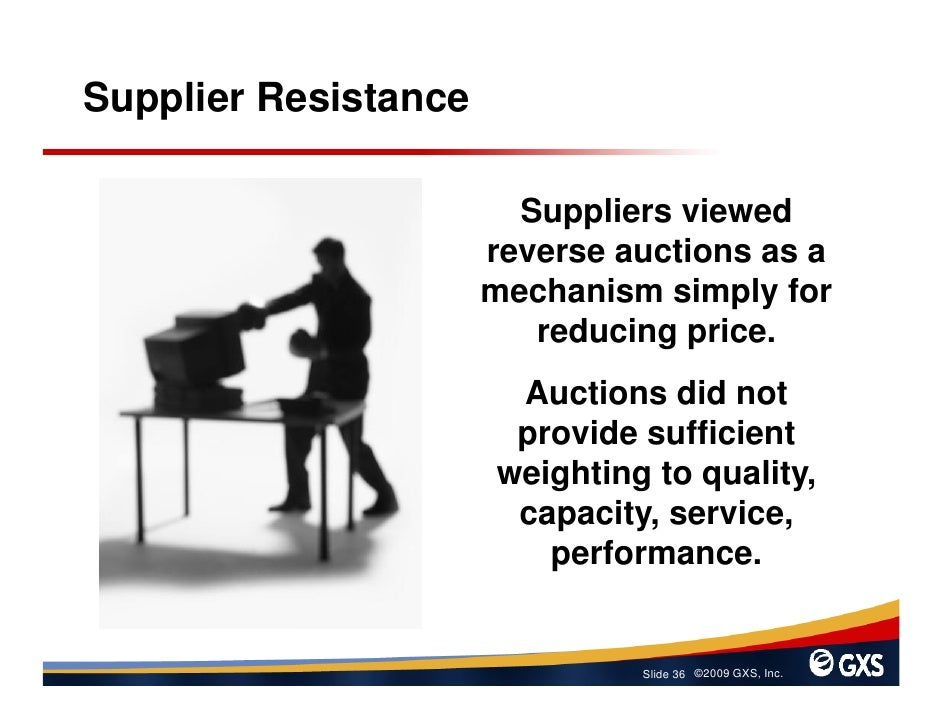 Supplier Resistance                          Suppliers viewed                       reverse auctions as a                 ...