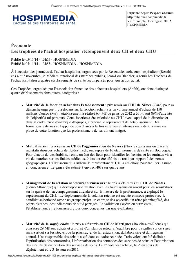 6/11/2014 Économie — Les trophées de l'achat hospitalier récompensent deux CH... - HOSPIMEDIA http://abonnes.hospimedia.fr...