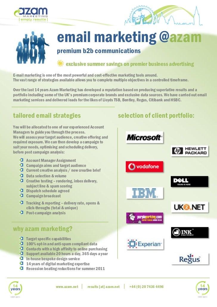 email marketing @azam                           premium b2b communications                                exclusive summer...