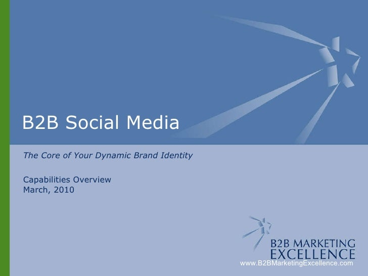 B2B Social Media The Core of Your Dynamic Brand Identity Capabilities Overview March, 2010 www.B2BMarketingExcellence.com