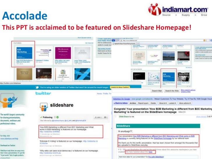 Accolade This PPT got a privilege to be featured on Slideshare Homepage!