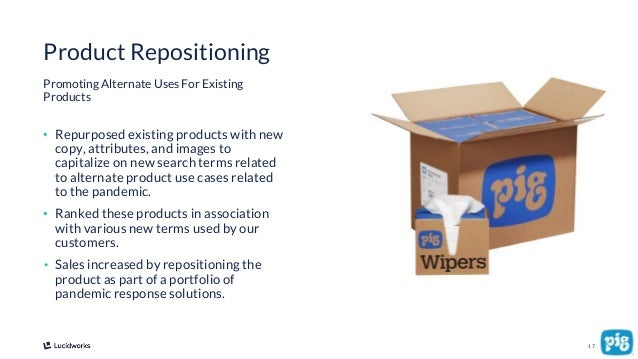 17 • Repurposed existing products with new copy, attributes, and images to capitalize on new search terms related to alter...