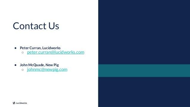 18 ● Peter Curran, Lucidworks ○ peter.curran@lucidworks.com ● John McQuade, New Pig ○ johnmc@newpig.com Contact Us