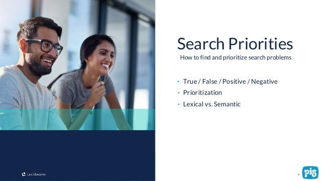 4 • True / False / Positive / Negative • Prioritization • Lexical vs. Semantic Search Priorities How to find and prioritiz...