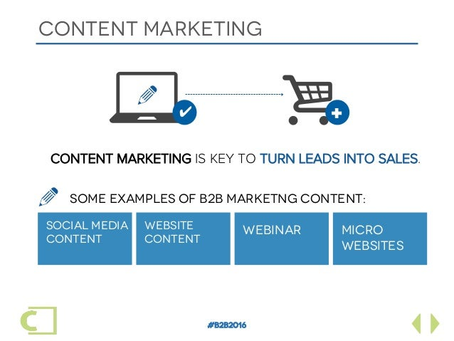 #B2B2016 CONTENT MARKETING SOCIAL MEDIA CONTENT CONTENT MARKETING IS KEY TO TURN LEADS INTO SALES. WEBSITE CONTENT WEBINAR...
