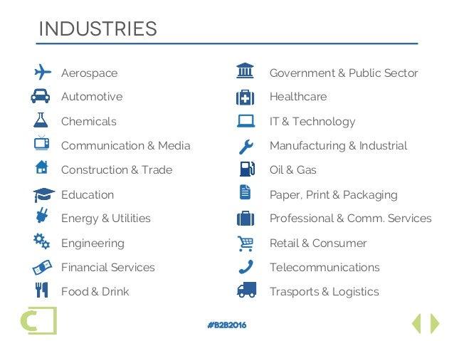 #B2B2016 industries Aerospace Automotive Chemicals Communication & Media Construction & Trade Education Energy & Utilities...