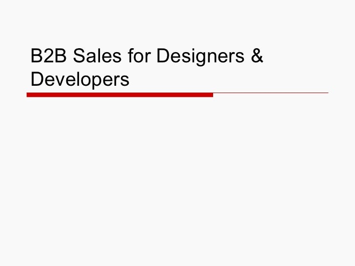 B2B Sales for Designers &Developers