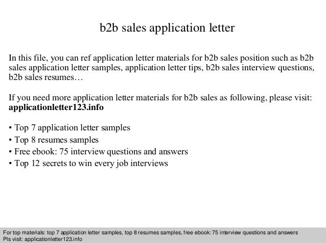 B2b Sales Application Letter In This File, You Can Ref Application Letter  Materials For B2b ...  B2b Sales Resume