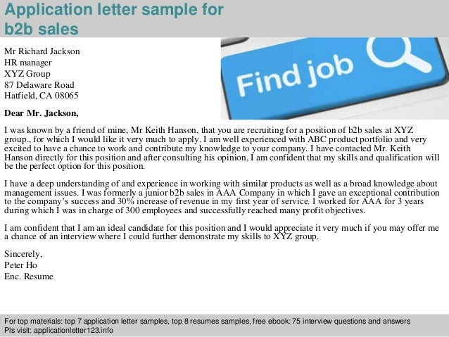 B2b sales position cover letter