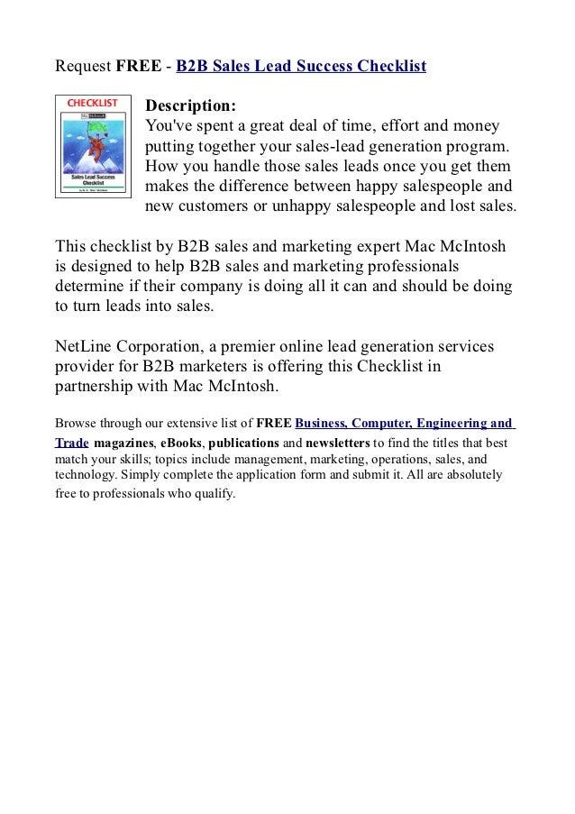 b2 b sales lead success checklist request free