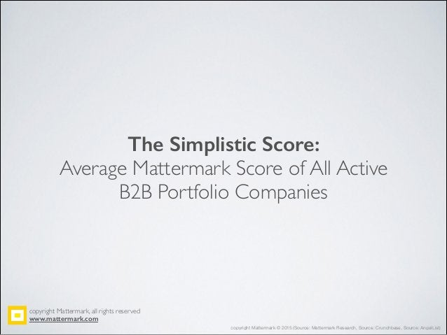 The Simplistic Score: Average Mattermark Score of All Active! B2B Portfolio Companies copyright Mattermark, all rights res...