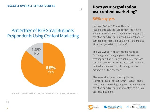 4 SPONSORED BY USAGE & OVERALL EFFECTIVENESS Does your organization use content marketing? 86% say yes Last year, 94% of B...