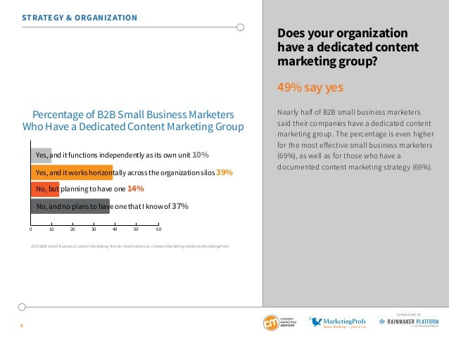 8 SPONSORED BY STRATEGY & ORGANIZATION Does your organization have a dedicated content marketing group? 49% say yes Nearly...