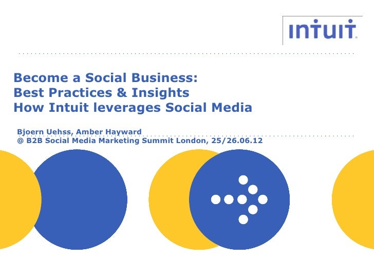 Become a Social Business:Best Practices & InsightsHow Intuit leverages Social MediaBjoern Uehss, Amber Hayward@ B2B Social...