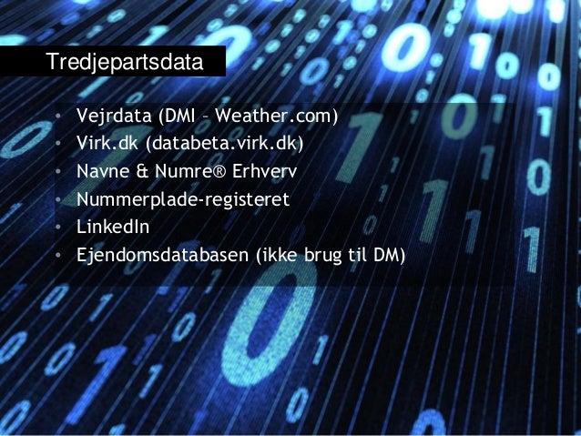 • Vejrdata (DMI – Weather.com) • Virk.dk (databeta.virk.dk) • Navne & Numre® Erhverv • Nummerplade-registeret • LinkedIn •...