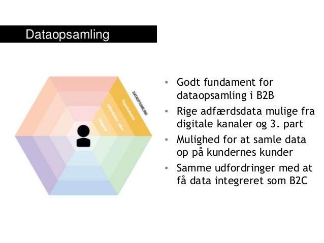 • Godt fundament for dataopsamling i B2B • Rige adfærdsdata mulige fra digitale kanaler og 3. part • Mulighed for at samle...