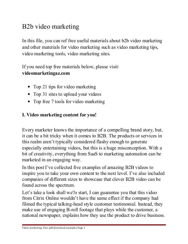 B2b video marketing  In this file, you can ref free useful materials about b2b video marketing  and other materials for vi...