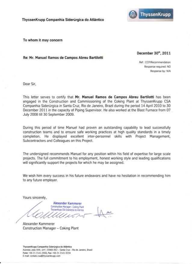 recommendation letter from thyssenkrupp