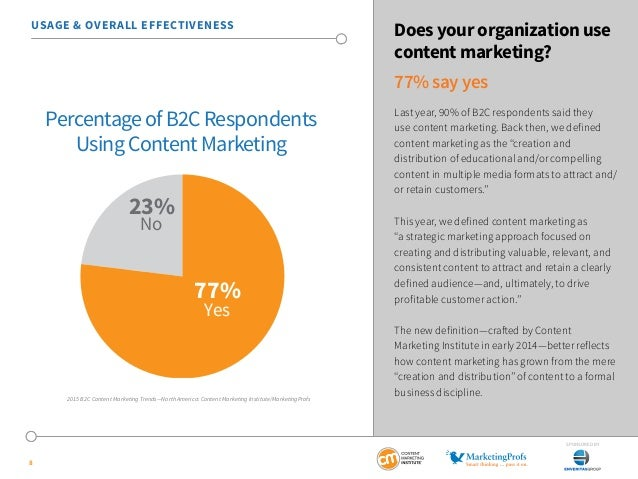 USAGE & OVERALL EFFECTIVENESS Does your organization use  SponSored by  8  content marketing?  77% say yes  Last year, 90%...