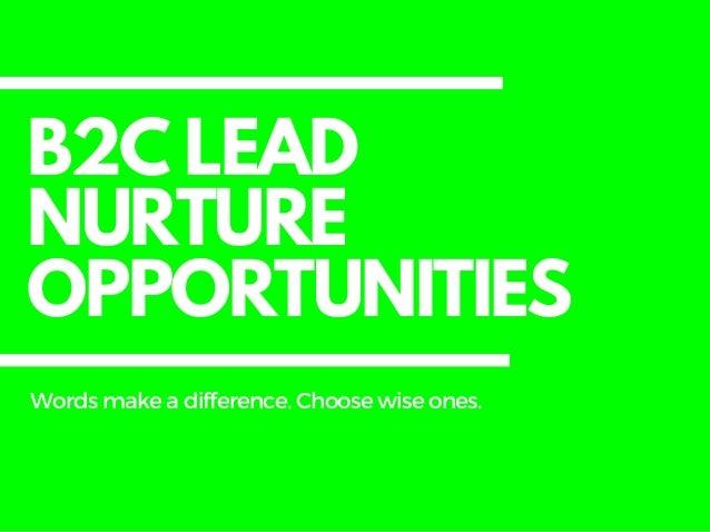 B2C LEAD NURTURE OPPORTUNITIES Wordsmakeadifference. Choosewiseones.