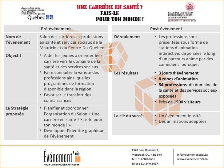 Pré-événement Nom de l'événement  Salon des carrières et professions en santé et services sociaux de la Mauricie et du Cen...
