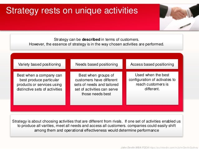 strategy rests on unique activities What is strategy excerpts from: porter, michael e, harvard business review, nov/dec96, vol 74 issue 6 strategy rests on unique activities.