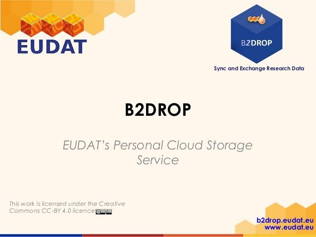 Sync and Exchange Research Data b2drop.eudat.eu www.eudat.eu This work is licensed under the Creative Commons CC-BY 4.0 li...