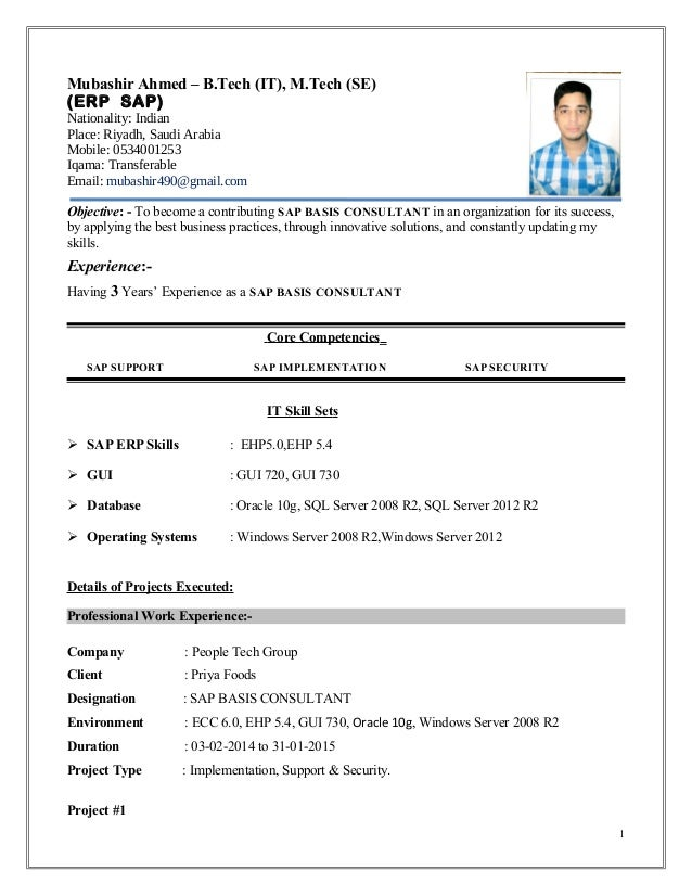 Mubashir ahmed erp sap basis consultant resume with 3 yr exp yelopaper Choice Image