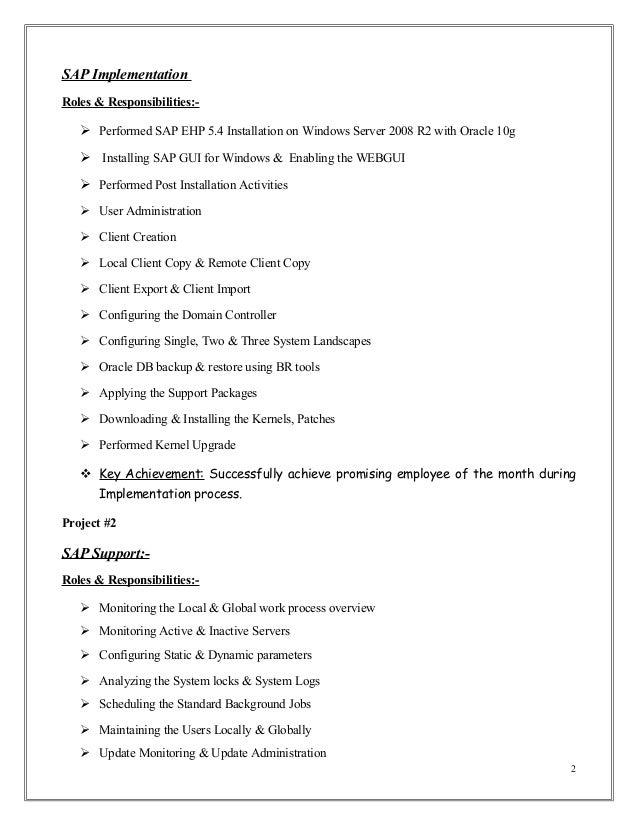 Sap Basis Experience Resume Professional Resume Templates
