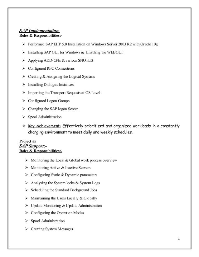 sap implementation - Sap Administration Sample Resume