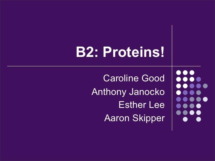 B2: Proteins!    Caroline Good  Anthony Janocko       Esther Lee    Aaron Skipper