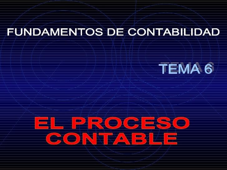 FUNDAMENTOS DE CONTABILIDAD EL PROCESO CONTABLE TEMA 6