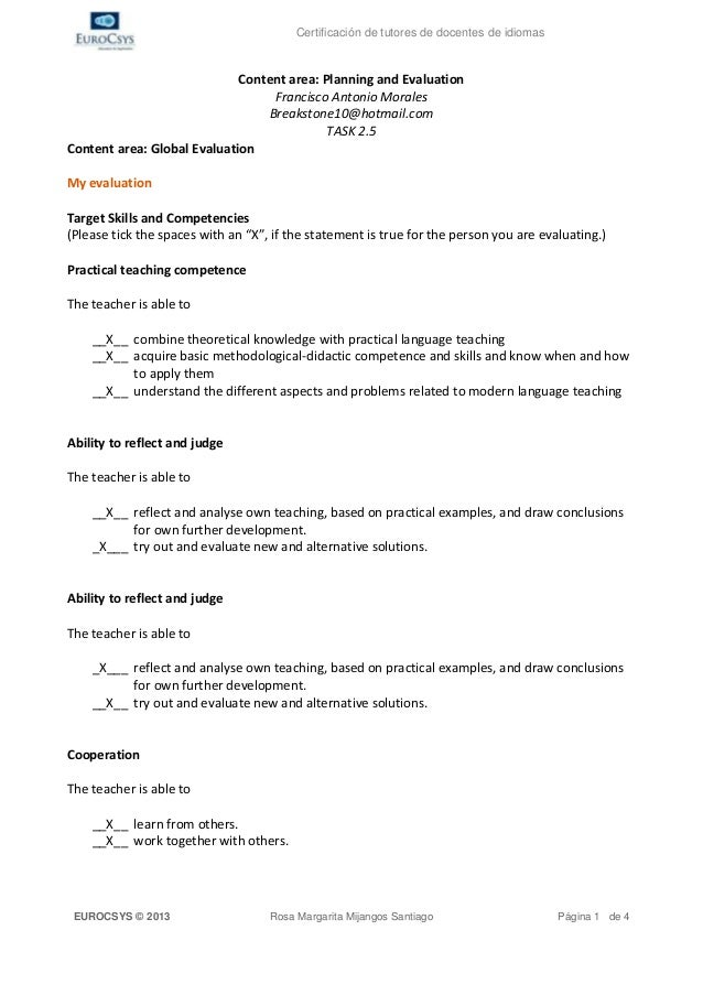 Certificación de tutores de docentes de idiomas                             Content area: Planning and Evaluation         ...