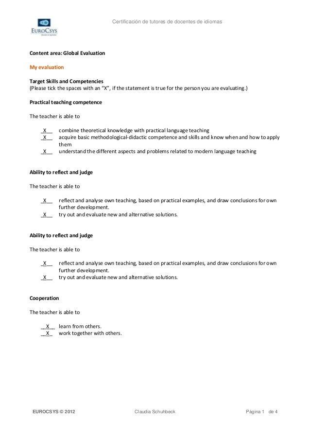Certificación de tutores de docentes de idiomasContent area: Global EvaluationMy evaluationTarget Skills and Competencies(...