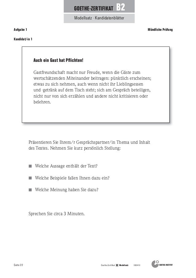 Mündliche Prüfung B2 German Courses