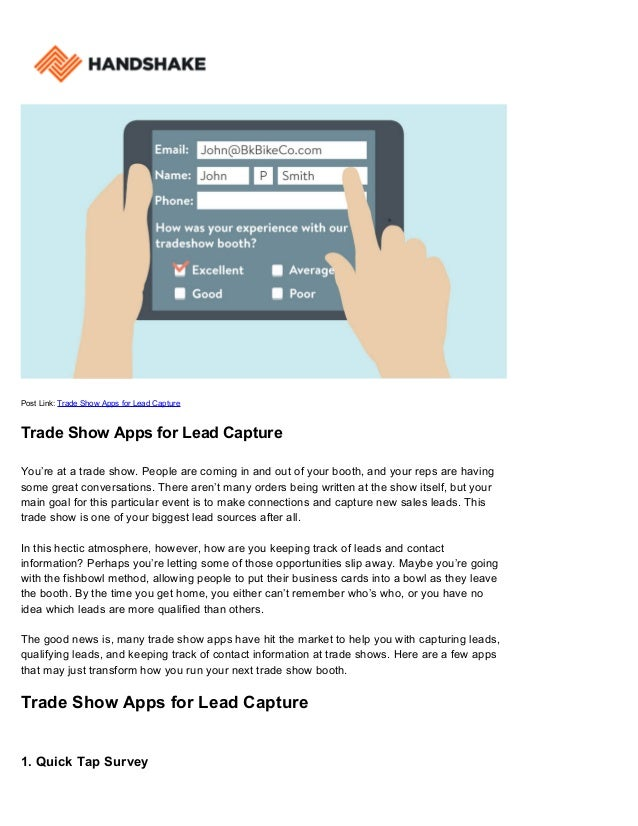 trade show apps for lead capture handshake