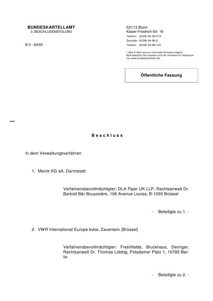 BUNDESKARTELLAMT                                 53113 Bonn        3. BESCHLUSSABTEILUNG                          Kaiser-F...