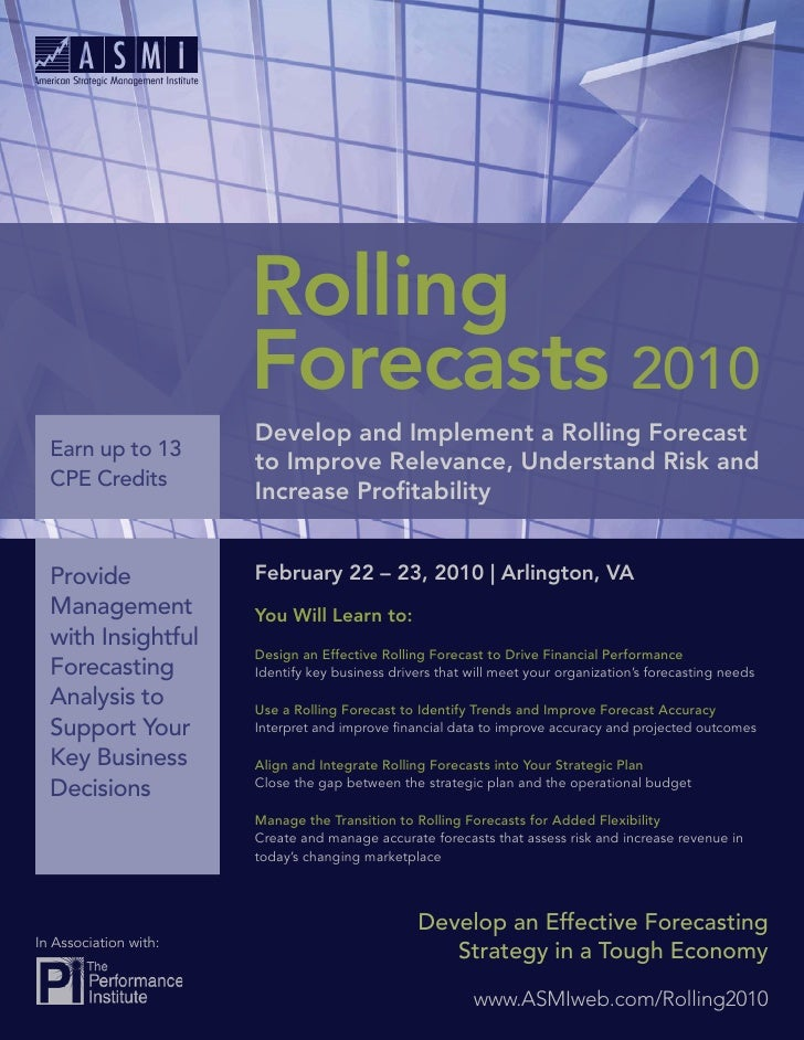 Rolling                        Forecasts 2010                        Develop and Implement a Rolling Forecast   Earn up to...