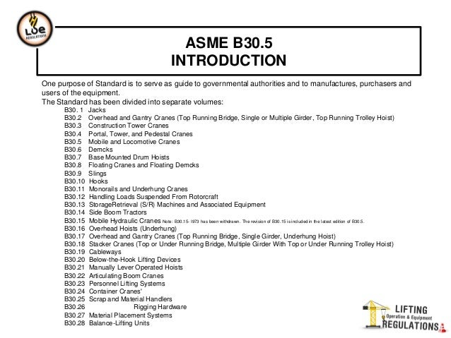 ASME B30.5 crane standard defines who does what