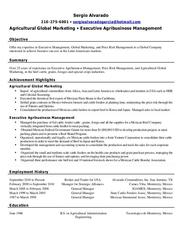 Amazing Agricultural Business Management Resume Ideas - Best Resume ...