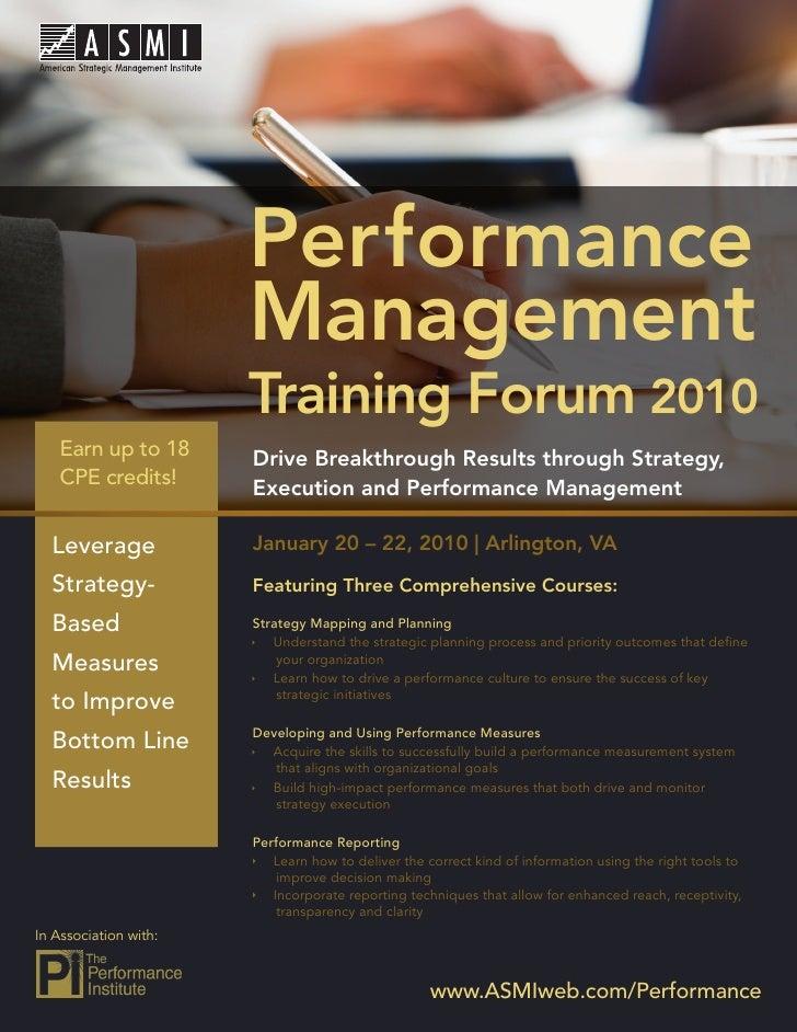 Performance Management Training Forum 2010                              Performance                          Management   ...