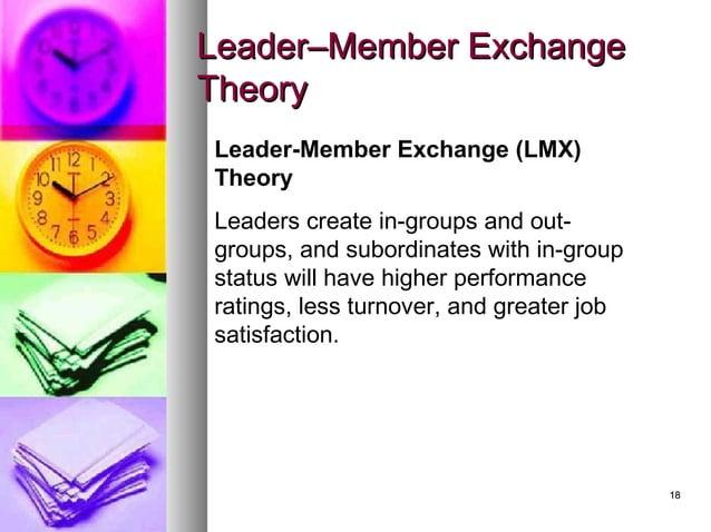 1818 LeaderLeader–Member Exchange–Member Exchange TheoryTheory Leader-Member Exchange (LMX) Theory Leaders create in-group...