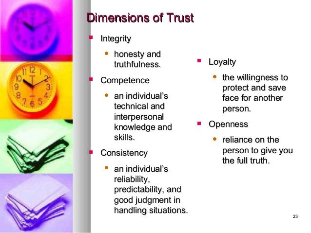 2323 Dimensions of TrustDimensions of Trust  IntegrityIntegrity  honesty andhonesty and truthfulness.truthfulness.  Com...