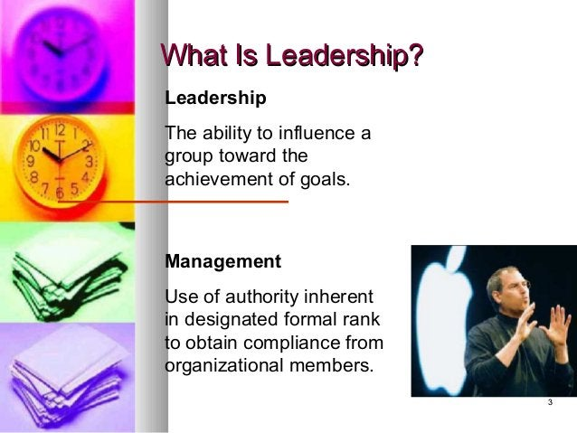 33 What Is Leadership?What Is Leadership? Leadership The ability to influence a group toward the achievement of goals. Man...