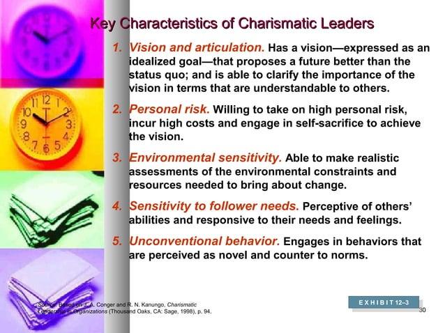3030 Key Characteristics of Charismatic LeadersKey Characteristics of Charismatic Leaders E X H I B I T 12–3 E X H I B I T...