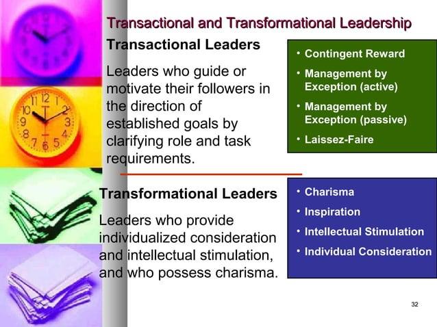3232 Transactional and Transformational LeadershipTransactional and Transformational Leadership • Contingent Reward • Mana...
